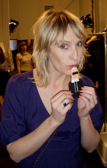 Karl is jealous of Rebecca Taylor's lip gloss.